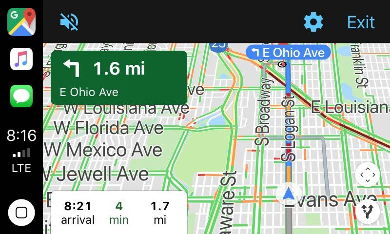 CarPlay displaying Google Maps app, main display, daytime mode (light)