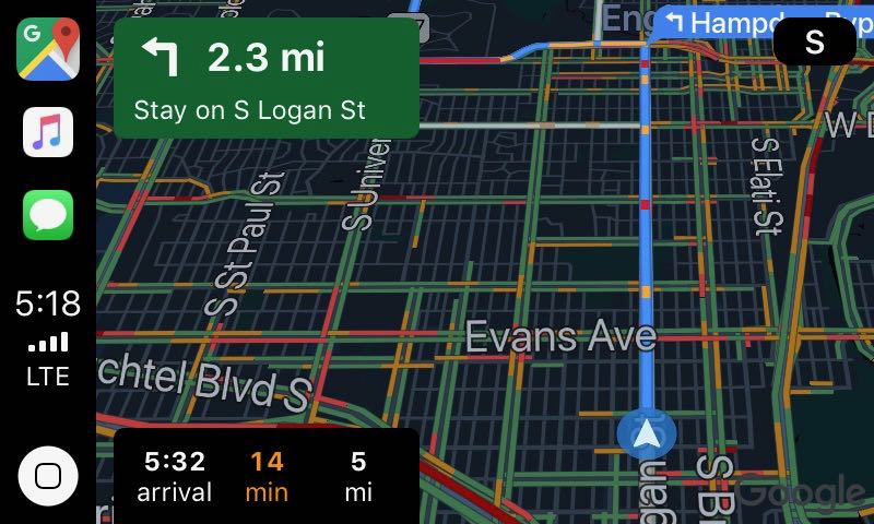 Google Maps app, main display, nighttime mode (dark)