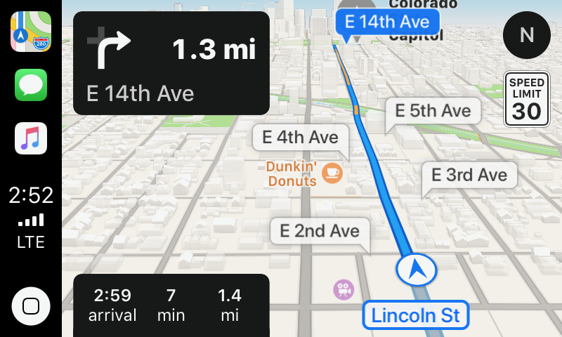 CarPlay screenshot of Maps' 3D view