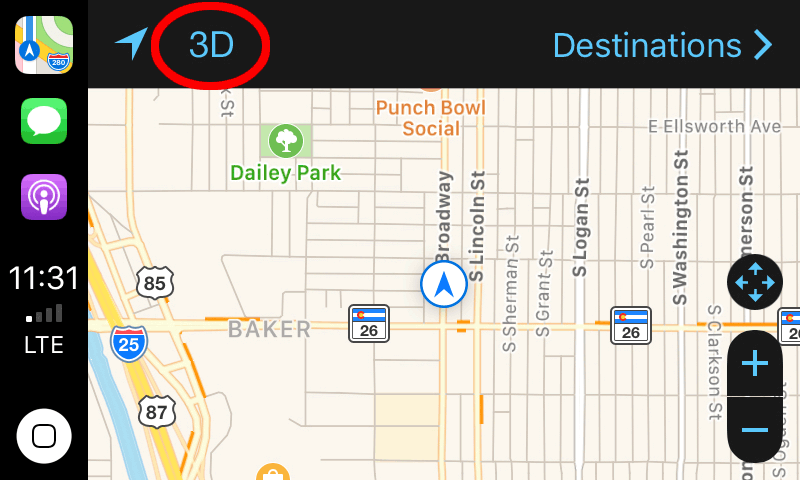 Apple Maps in CarPlay's 3D button